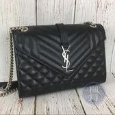 BRAND楓月 SAINT LAURENT YSL 聖羅蘭 487206 黑色 山形紋 拼接 菱格 鍊條 斜背包 手提包