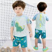 兒童泳衣男童潮綠色恐龍可愛寶寶兒童平角分體游泳衣褲配泳帽  小時光生活館