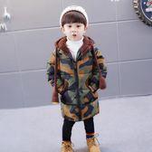 羽絨外套 兒童連帽加厚迷彩中長款男童冬裝外套2-6周歲冬 男寶寶棉襖潮