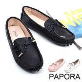 PAPORA真皮蝴蝶結平底鞋【K8006】黑偏小(零碼)