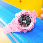 Disney 迪士尼 / MK-15014P / 米奇系列 雙顯 鬧鈴 兩地時間 兒童錶 卡通錶 電子 橡膠手錶 粉色 36mm
