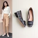 大尺碼女鞋34-43 2021歐美時尚優雅方扣方頭低跟鞋~3色