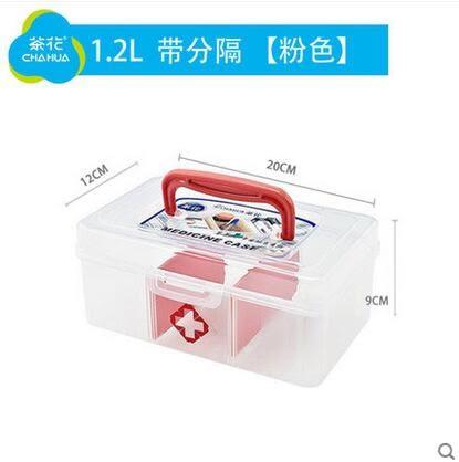 六齊 茶花藥箱家庭用家用藥箱多層小號大號藥品-(1.2L  粉色)炫彩店