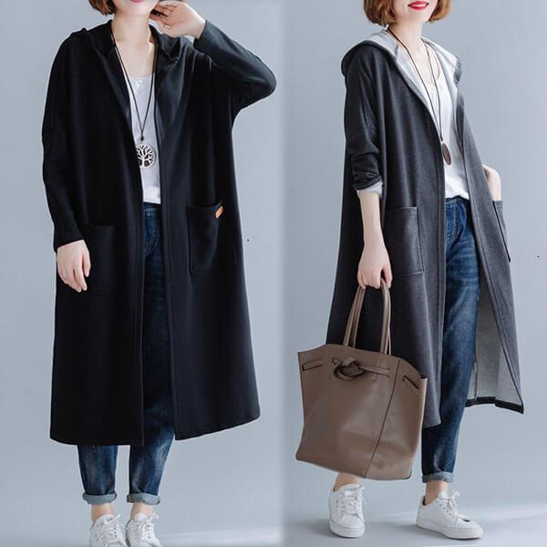 韓版 素色雙口袋長版外套-中大尺碼 獨具衣格