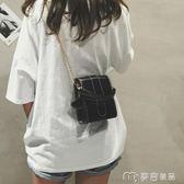 上新夏天新款簡約手機包可愛百搭單肩斜挎小方包鍊條小包包女     麥吉良品