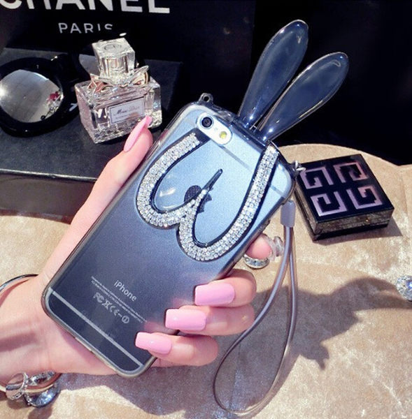 【R】新款透明貼鑽耳朵 水晶兔 iphone 5s 手機殼 清涼TPU兔耳朵蘋果5s 5se 附掛繩 手機殼