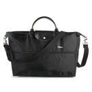 LONGCHAMP 1911 Le Pliage刺繡延展夾層旅行袋(黑色)480212