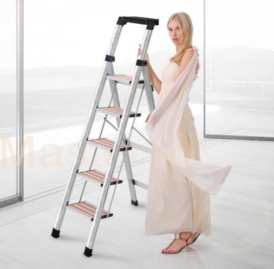 創步家用折疊人字梯子室內多功能便攜工程梯不銹鋼鋁合金樓梯凳 DF全館免運
