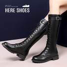 [Here Shoes] 3CM長靴 加大尺碼 率性百搭側邊單飾釦 筒高37CM皮革綁帶側拉鍊厚底靴 騎士靴 黑靴-KW719