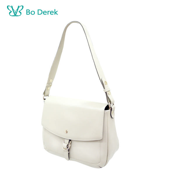 【BO DEREK】真皮質感輕快優雅斜背包-米白