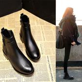 短靴 鞋子女韓版女鞋粗跟中跟馬丁靴女短靴女棉鞋女 『夢娜麗莎』