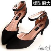 Ann'S優雅女伶-性感繫帶尖頭低跟鞋-黑