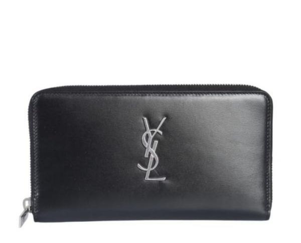 ■現貨在台■ 專櫃63折■Saint Laurent Paris 經典 Monogram YSL 滑面小牛皮拉鍊長夾 黑色