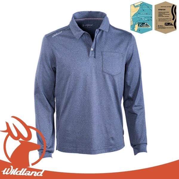 【Wildland 荒野 男 彈性POLO領輕薄保暖上衣《藍灰》】OA62612/POLO衫/保暖衣/彈性/排汗