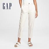 Gap女裝 時尚素色棉質寬鬆休閒褲 679046-象牙白