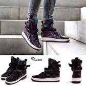 Nike 休閒鞋 Wmns SF AF1 SE PRM Air Force 紫 白 漆皮鞋面 靴子 軍事風 運動鞋 女鞋【PUMP306】 AJ0963-600