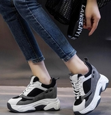顯腳小老爹鞋秋冬款內增高女鞋超厚底鬆糕鞋大約10cm公分真皮小白鞋潮 新年禮物