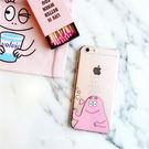 【SZ】iPhone 7/8彩繪粉紅泡泡先生 透明TPU軟殼iPhone 6S iPhone 7/8 plus手機殼iPhone 6s plus保護套