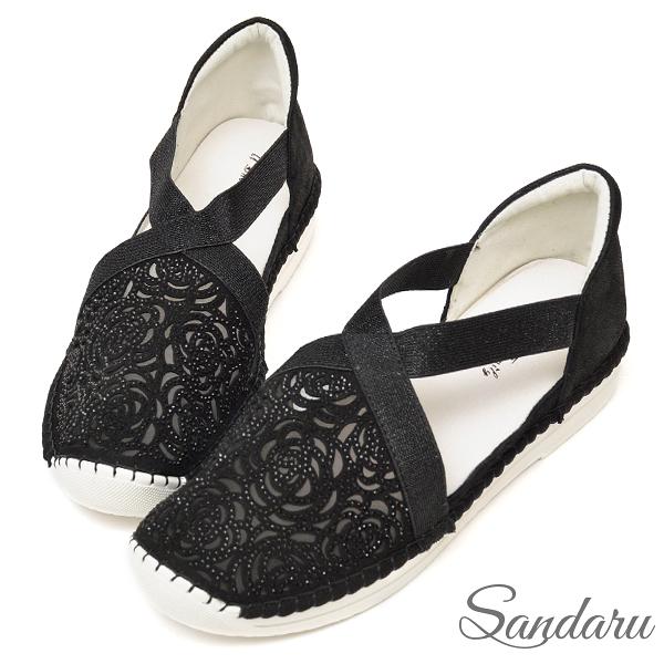 專櫃款 真皮玫瑰紋鑽透膚鬆緊休閒鞋-黑色下單區