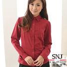 【SN-57EG】森奈健-優雅瑰麗OL胸前壓摺細緻格紋短袖女襯衫(酒紅色)