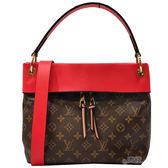 【Louis Vuitton 路易威登】M43798 Tuileries Besace 經典花紋拼接牛皮雙色單把肩背包(棕/紅色)