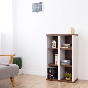 【Accessco】日系雙色六格厚板收納書櫃(胡桃白)