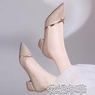 一腳蹬皮鞋新款四季單鞋女鞋子瓢鞋百搭皮鞋韓版時尚粗跟中跟一腳蹬女 快速出貨
