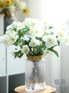 銅口美式輕奢金屬北歐透明玻璃花瓶擺件干花...