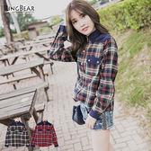 質感襯衫--個性品味燈芯絨拼接配色口袋格紋長袖襯衫(紅.綠M-2L)-I80眼圈熊中大尺碼