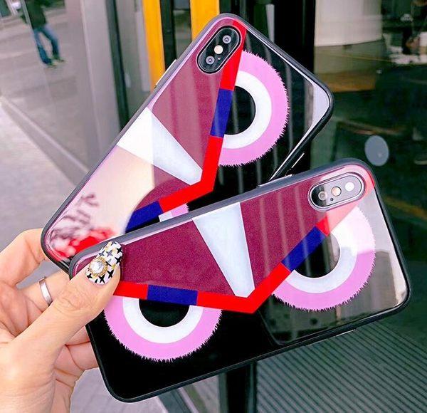 【SZ35】iphone 7手機殼 卡通大眼睛玻璃殼 i8 plus手機殼 iphone6s手機殼 iphone X手機殼
