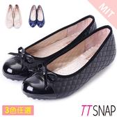 娃娃鞋-TTSNAP MIT小香風菱格紋平底鞋 黑/米/藍