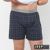 【JEEP】五片式剪裁 純棉平口褲(深藍綠格紋)