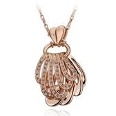 鍍18K金項鍊純銀鑲鑽吊墜-精緻貝殼生日情人節禮物女飾品73ce176【巴黎精品】