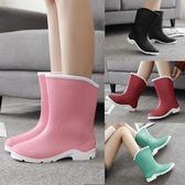 時尚中筒雨靴短筒女水靴膠鞋套鞋防滑水鞋成人雨鞋女【販衣小築】