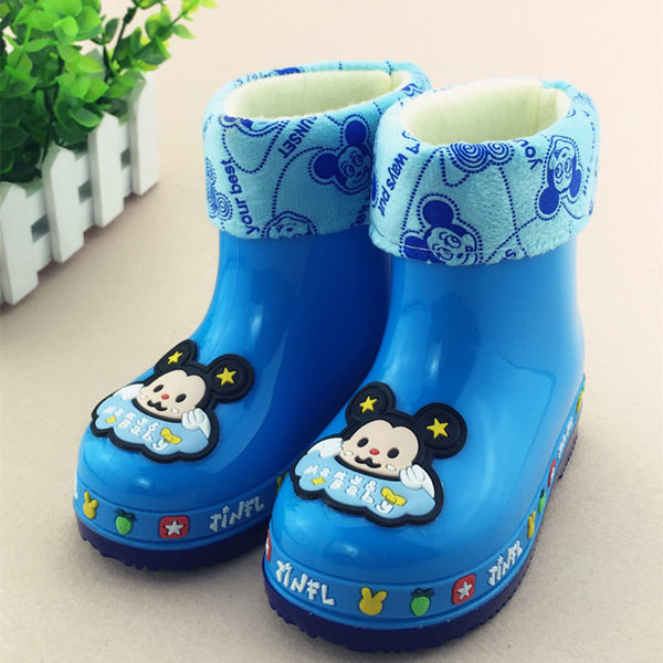 兒童水靴加絨男防滑保暖雨靴女童可愛卡通寶寶水鞋冬活動商品85折