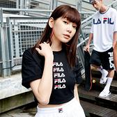 FILA NEWTRO MANIA 女款黑色短袖圓領T恤-NO.5TEV-1427-BK