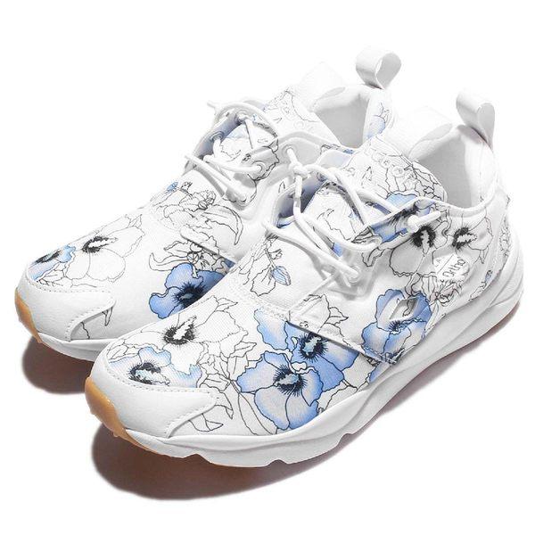 Reebok 休閒慢跑鞋 Furylite FG 藍 白 花卉圖騰 運動鞋 女鞋 【PUMP306】 BD1098