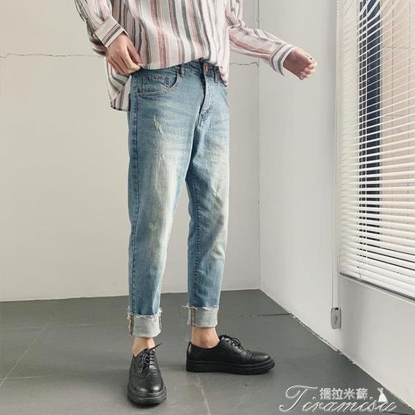 九分褲男-牛仔褲男淺色九分褲韓版潮流修身小腳褲夏季9分破褲子帥t 提拉米蘇