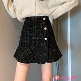 半身魚尾裙 裙子女裝2021秋冬季新款格子半身裙高腰a字包臀裙荷葉邊魚尾短裙 小天使
