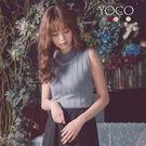 ◆ 多色可選擇,亮眼的水鑽拼貼在領圍處,華麗優雅,無袖坑條針織背心加上高領設計,打造淑女氣質。