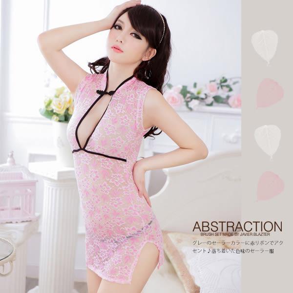 銀白色情趣用品 蕾絲薄紗粉紅改良式旗袍服 2件組(性感睡衣+丁字褲) 角色扮演服 情趣洋裝