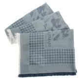 ARMANI Collezioni千鳥格紋流蘇披肩圍巾(灰色)102805