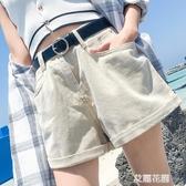 牛仔短褲女夏季2019新款高腰寬鬆捲邊a字外穿闊腿熱褲潮『艾麗花園』