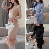 長袖洋裝連身裙套裝 女秋冬季針織打底時尚裙中長款名媛包臀裙兩件式-新主流
