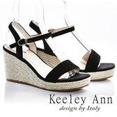★2018春夏★Keeley Ann完美顯瘦~素面質感編織真皮楔形涼鞋(黑色) -Ann系列
