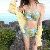 5天出貨★熱帶椰林印花抹胸高腰比基尼沙灘度假溫泉泳衣★ifairies【29181】