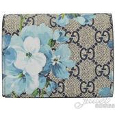 茱麗葉精品【全新現貨】GUCCI 546372 GG Blooms 花卉 PVC扣式零錢短夾.駝/藍
