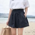 ?短褲 韓版夏季女裝學生百搭松緊腰休閒褲學院風簡約純色高腰闊腿褲短褲