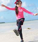 桃紅水母衣防曬長袖泳裝+黑色長褲+黑色短褲 三件式 寶寶泳衣 橘魔法 玩水褲 現貨 童 泳衣 兒童