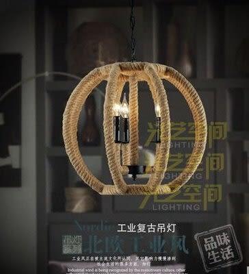 設計師美術精品館創意個性鐵藝麻繩吊燈 歐式複古酒吧咖啡廳客廳餐廳圓形三頭吊燈